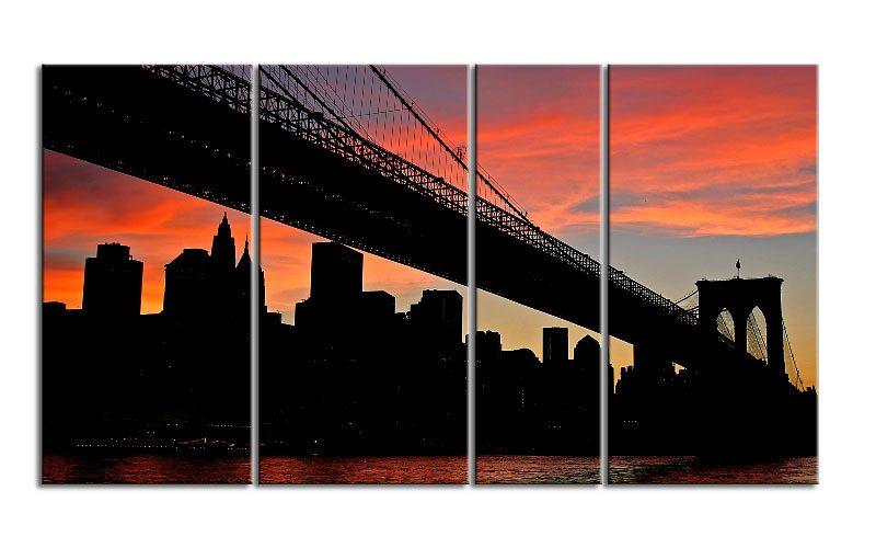 brooklyn bridge ny leinwand 4 bilder xxl bild d00689 die leinwandfabrik. Black Bedroom Furniture Sets. Home Design Ideas