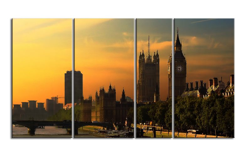 london tower uk leinwand 4 bilder xxl bild d00708 die leinwandfabrik. Black Bedroom Furniture Sets. Home Design Ideas