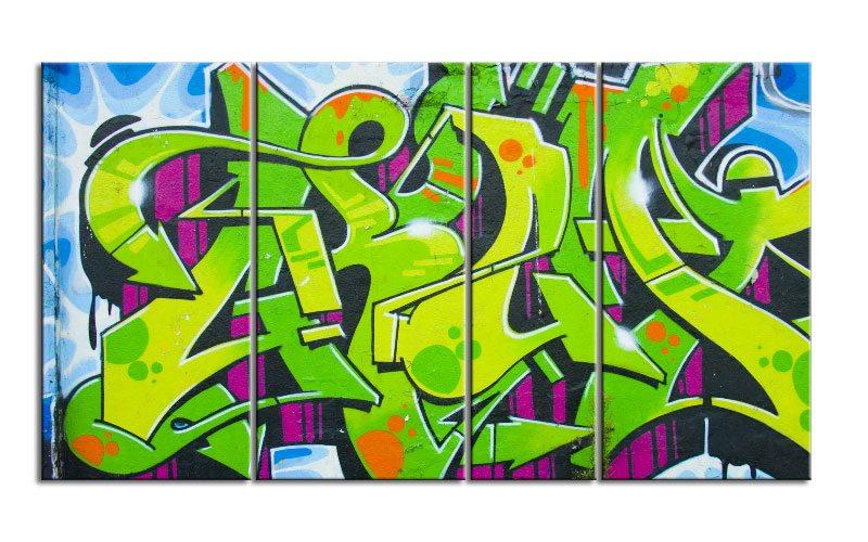 grafitti strett art leinwand 4 bilder xxl bild d00731 die leinwandfabrik. Black Bedroom Furniture Sets. Home Design Ideas