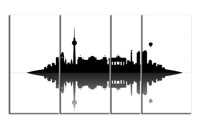 berlin skyline leinwand 4 bilder xxl bild d00739 die leinwandfabrik. Black Bedroom Furniture Sets. Home Design Ideas