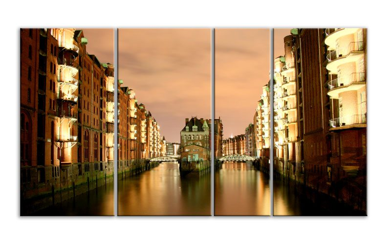 hamburg speicherstadt leinwand 4 bilder xxl bild d00813 die leinwandfabrik. Black Bedroom Furniture Sets. Home Design Ideas