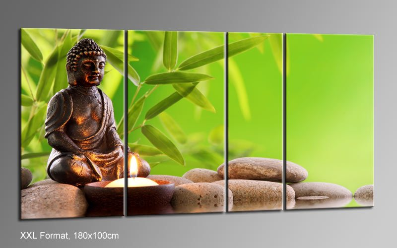 feng shui buddah leinwand 4 bilder xxl bild d01181 die leinwandfabrik. Black Bedroom Furniture Sets. Home Design Ideas