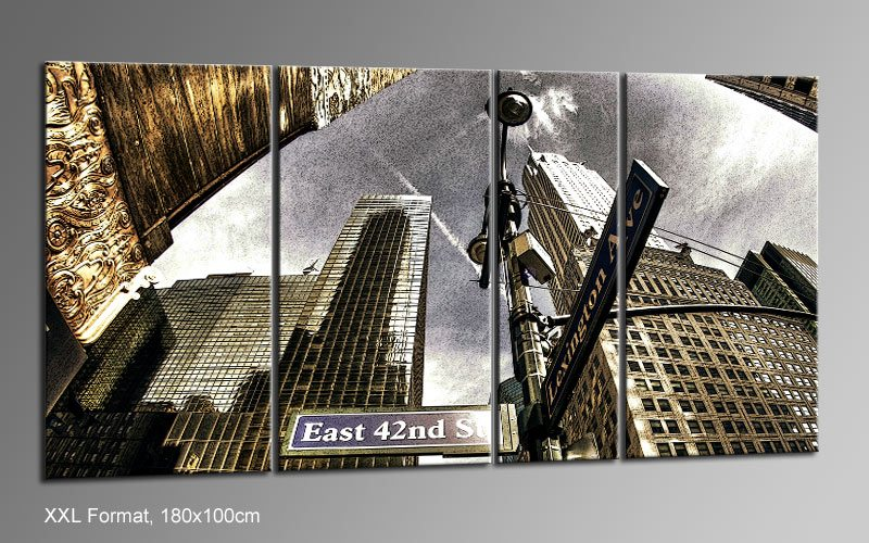 new york comic leinwand 4 bilder xxl bild d01218 die. Black Bedroom Furniture Sets. Home Design Ideas