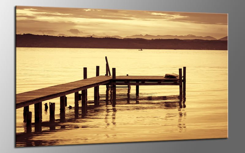 sepia lake leinwand bild auf keilrahmen a01656 die leinwandfabrik. Black Bedroom Furniture Sets. Home Design Ideas