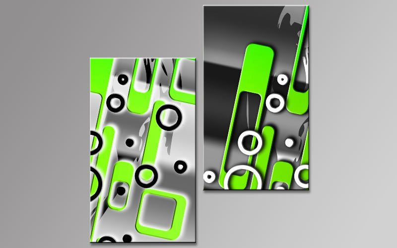 pop art gr n leinwand 2 bilder b00765 die leinwandfabrik. Black Bedroom Furniture Sets. Home Design Ideas