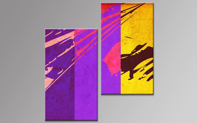 retro stil lila leinwand 2 bilder b00826 die leinwandfabrik. Black Bedroom Furniture Sets. Home Design Ideas