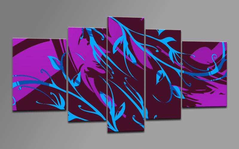 pop art blau leinwand 5 bilder m53353 die leinwandfabrik. Black Bedroom Furniture Sets. Home Design Ideas