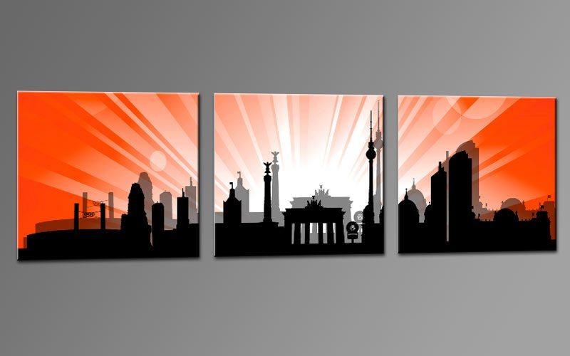 skyline berlin rot c01178 leinwand 3 bilder die leinwandfabrik. Black Bedroom Furniture Sets. Home Design Ideas