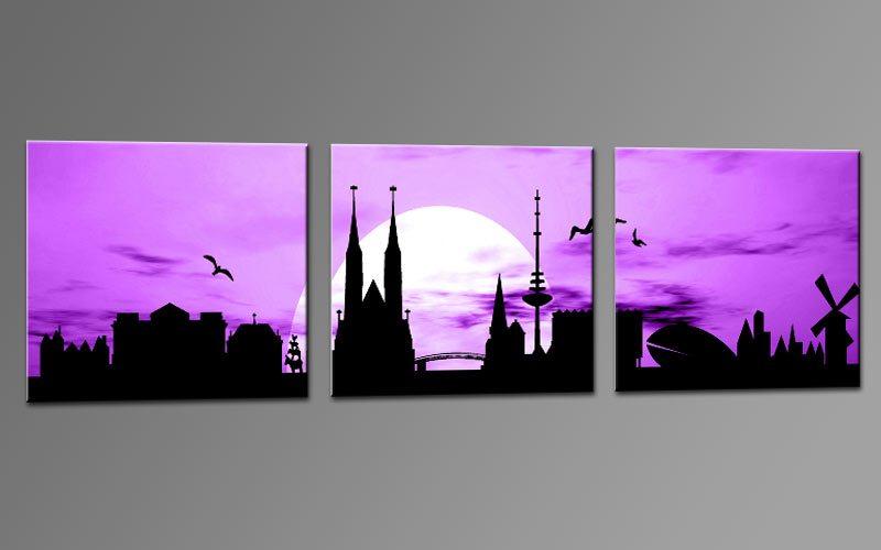 skyline bremen viiolet c01195 leinwand 3 bilder die leinwandfabrik. Black Bedroom Furniture Sets. Home Design Ideas