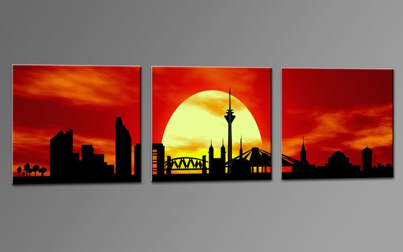 skyline d sseldorf rot c01230 leinwand 3 bilder die leinwandfabrik. Black Bedroom Furniture Sets. Home Design Ideas
