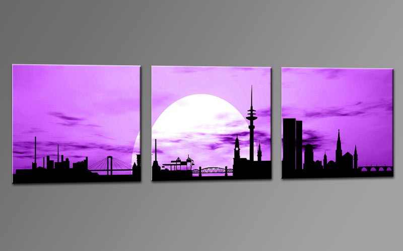 skyline hamburg violet c01255 leinwand 3 bilder die leinwandfabrik. Black Bedroom Furniture Sets. Home Design Ideas
