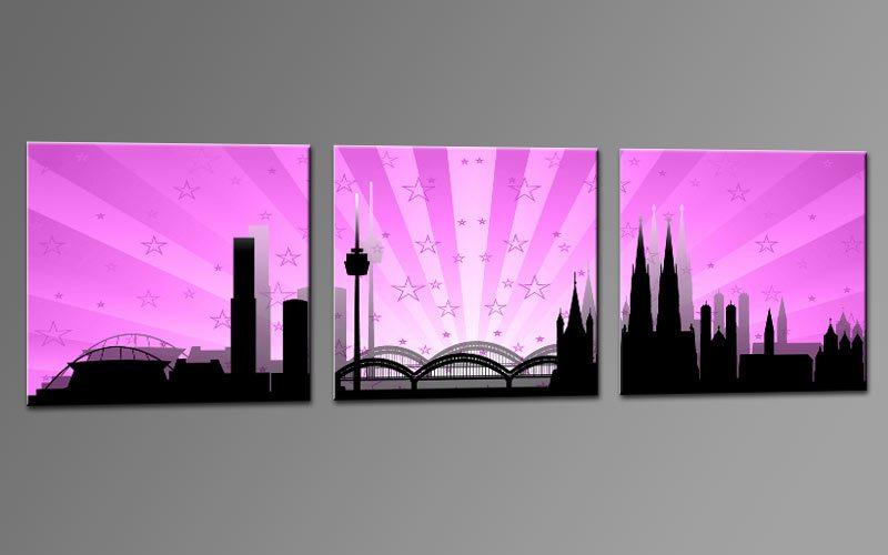 skyline k ln rosa c01261 leinwand 3 bilder die leinwandfabrik. Black Bedroom Furniture Sets. Home Design Ideas