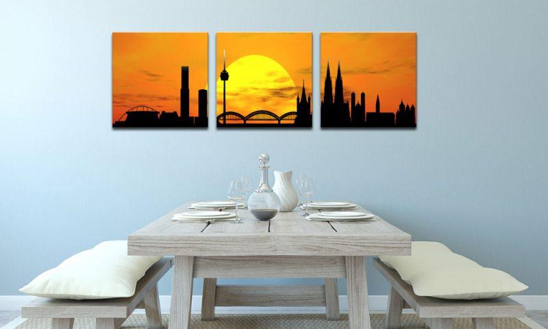 skyline k ln orange c01264 leinwand 3 bilder die leinwandfabrik. Black Bedroom Furniture Sets. Home Design Ideas