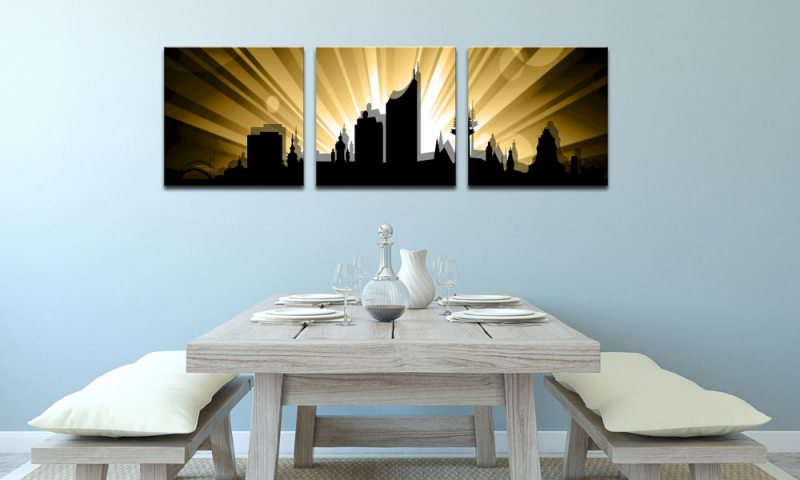 skyline leipzig gold c01269 leinwand 3 bilder die leinwandfabrik. Black Bedroom Furniture Sets. Home Design Ideas