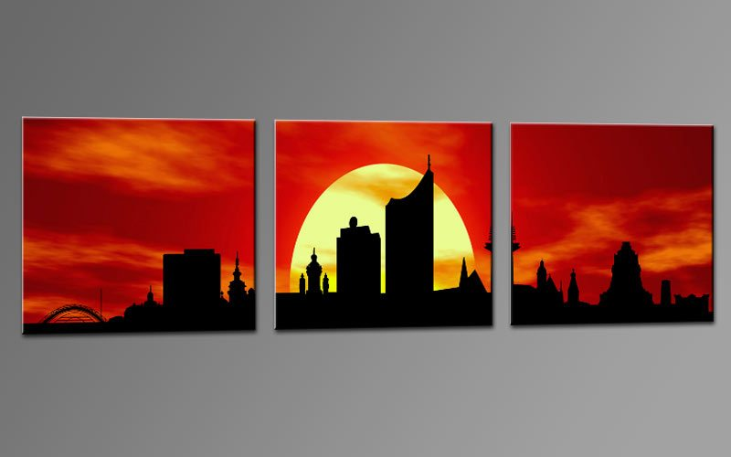 skyline leipzig rot c01278 leinwand 3 bilder die leinwandfabrik. Black Bedroom Furniture Sets. Home Design Ideas