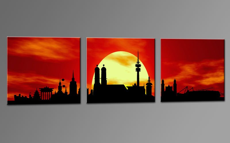 skyline m nchen rot c01290 leinwand 3 bilder die leinwandfabrik. Black Bedroom Furniture Sets. Home Design Ideas