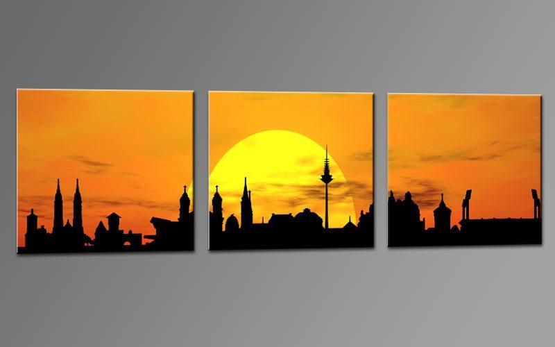 skyline n rnberg orange c01302 leinwand 3 bilder die. Black Bedroom Furniture Sets. Home Design Ideas