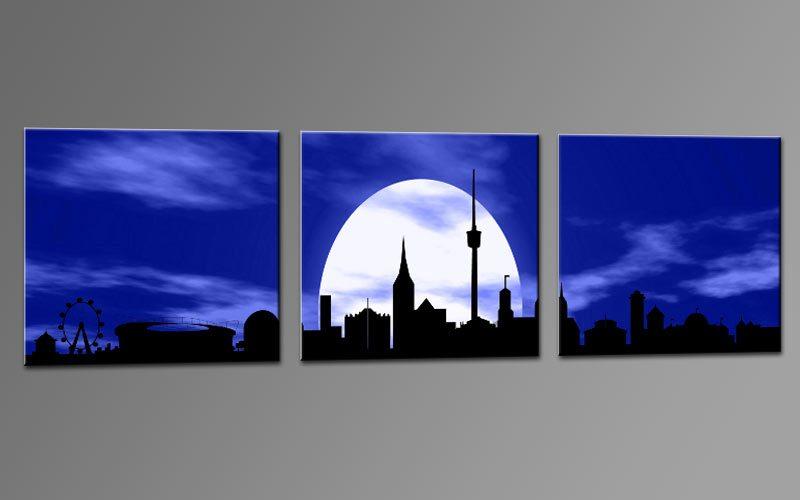 skyline stuttgart blau c01315 leinwand 3 bilder die leinwandfabrik. Black Bedroom Furniture Sets. Home Design Ideas