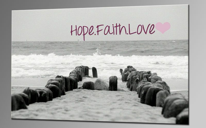 HOPE FAITH LOVE II Leinwand 60x40cm Sprüche DEKO KA00285 ...