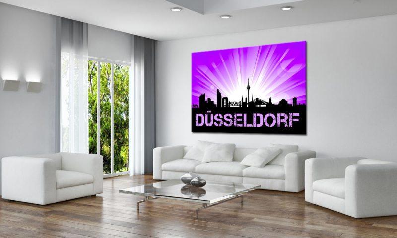 City Bild Auf Leinwand Düsseldorf Sunrise Purple A03440 Deko Die