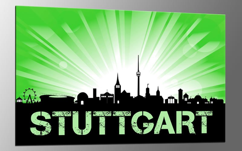 City bild auf leinwand stuttgart sunrise green a03515 deko for Leinwand deko